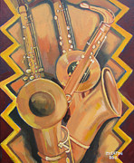John Keaton Paintings - Three Saxophones by John Keaton