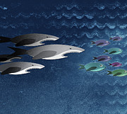 Food Chain Digital Art Posters - Three Sharks Chasing A School Of Fish Poster by Jutta Kuss