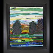Landscapes Glass Art Originals - Three Sisters by Alice Benvie Gebhart