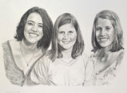 Bonds Drawings - Three Sisters by Anke Hass