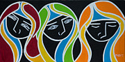 Family Love Painting Posters - Three Sisters Poster by Mary Tere Perez