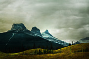 Snow Capped Mountains Posters - Three Sisters Storm Poster by Andrea Hazel Ihlefeld