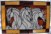 Professional Glass Art - Three Stallions by Dipple