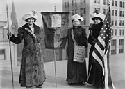 Social Movements Art - Three Suffragettes Demonstrate In New by Everett
