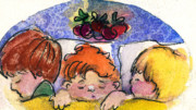 The Church Mixed Media Originals - Three Sugar Plum Dreamers by Mindy Newman