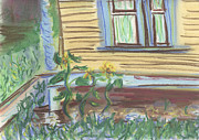 Front Porch Pastels Prints - Three Sunflowers by the Porch Print by Denny Morreale