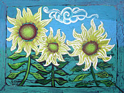 Murals Framed Prints - Three Sunflowers Framed Print by Genevieve Esson