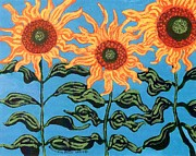 Sunflower Paintings - Three Sunflowers III by Genevieve Esson