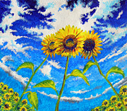 Jose Miguel Barrionuevo Metal Prints - Three sunflowers Metal Print by Jose Miguel Barrionuevo