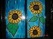 Antique Glass Art - Three Sunflowers by Nikki Campbell