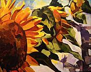 Oil On Canvas Drawings - Three Sunflowers by Tim  Heimdal