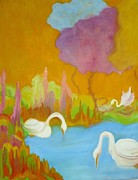 Swans... Paintings - Three Swans by Diana Ogaard