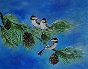 Snowy Trees Paintings - Three Sweet Chickadees by Leslie Allen