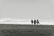 Surf Silhouette Posters - Three swimmers with surfing boards Poster by Yurix Sardinelly