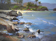 Haleiwa Paintings - Three Tables Beach by Richard Robinson