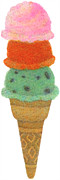 Ice Cream Illustration Prints - Three Tier Ice-cream Cone Print by Yuri Horikawa