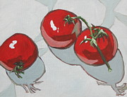 Tomato Paintings - Three Toms by Sandy Tracey