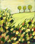 Olive Green Painting Prints - Three Trees on a Hill Print by Jennifer Lommers