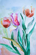 Tree Leaf Painting Prints - Three tulips Print by Regina Jershova