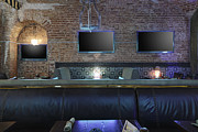 Visual Aid Prints - Three Tv Screens On Brick Wall Print by Magomed Magomedagaev