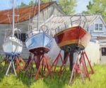 Sailboats Docked Painting Posters - Three Up Poster by L Diane Johnson