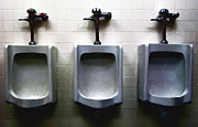 Bathroom Posters - Three Urinals Poster by Wingsdomain Art and Photography