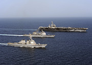 Eisenhower Photos - Three U.s. Navy Ships Sail In Formation by Stocktrek Images
