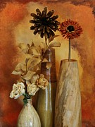 Mango Posters - Three Vases of Dried Flowers Poster by Marsha Heiken