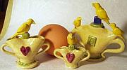 Featured Ceramics - Three Vessels Of Yellow Birds by Kathryn Carr