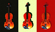 Orchestras Digital Art Metal Prints - Three Violins . Painterly Metal Print by Wingsdomain Art and Photography