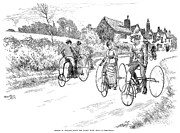 1887 Prints - Three Wheel Bicycles, 1887 Print by Granger