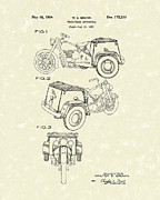 Wheel Drawings Metal Prints - Three Wheel Motorcycle 1954 Patent Art  Metal Print by Prior Art Design