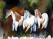 Expressionist Equine Prints - Three White Horses at the Edge of the Woods Print by Lil Taylor