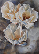 White Flower Paintings - Three White Magnolias by Sharon Freeman