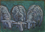 Ewes Originals - Three white Monkton Sheep grazing green by Lynn Rupe