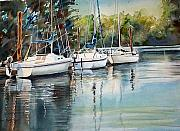 Sails Prints - Three White Sails Docked Print by June Conte  Pryor
