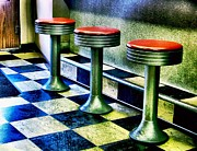 Old Diner Bar Stools Prints - Three White Steamer Stools Print by Julie Dant