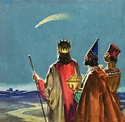 Star Of Bethlehem Painting Prints - Three Wise Men Print by English School