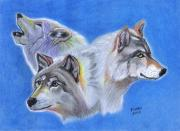 Pack Painting Originals - Three Wolves by Jay Kinney