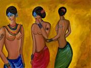 Indian Women Framed Prints - Three Women - 1 Framed Print by Sweta Prasad