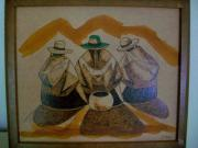 Women Pyrography Originals - Three Women by Hercilia Delgado