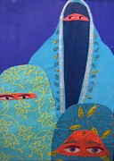 Middle East Mixed Media Originals - Three Women in Burkhas by Debra Bretton Robinson