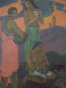 Caring Mother Painting Framed Prints - Three Women on the Seashore Framed Print by Paul Gauguin