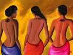 Red Art - Three Women with Tattoos by Sweta Prasad