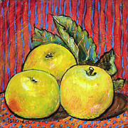 Warm Painting Posters - Three Yellow Apples Poster by Blenda Tyvoll
