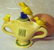 Birds Ceramics - Three Yellow Birds A To X by Kathryn Carr