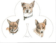 Terriers Drawings Prints - Threes A Crowd Print by Therese A Kraemer