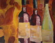 Wine Reflection Art Painting Prints - Threes a Party Print by J Von Ryan
