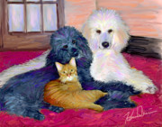 White Poodle Framed Prints - Threes Company Framed Print by Karen Derrico