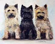Dog Art - Threes Company by Mary Sparrow Smith